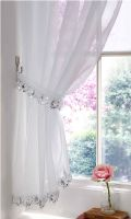 CRYSTAL SPARKLES JEWELLED SEQUIN TRIM WHITE VOILE CURTAIN PANEL FREE TIEBACK